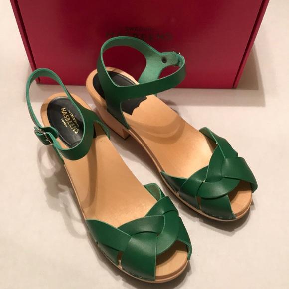 499514b7535b Swedish Hasbeens Kelly green kringlan clog sandal.  M 5a5418f336b9de1a1202d881